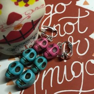 Hand Made Skull Turquoise & Pink Clip-On Earrings